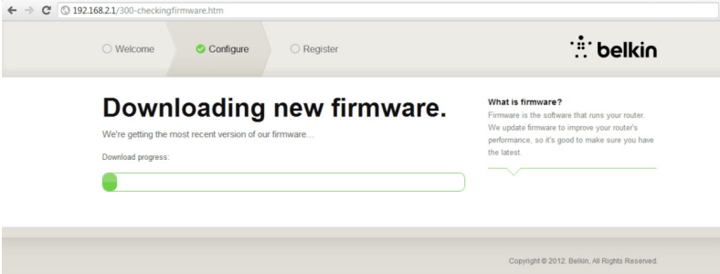 Imagem que mostra o download do novo firmware