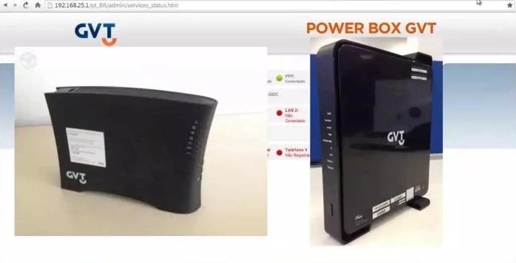 Imagem mostrando o Roteador Vivo GVT de acesso pelo ip 192.168.25.1
