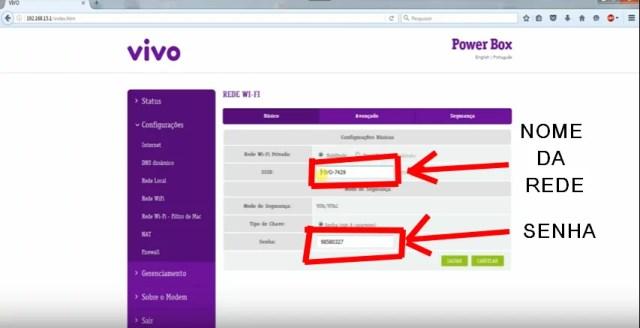 Imagem da tela de mudança do nome da rede e senha wifi