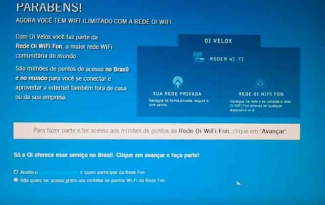 roteador wi-fi configurado parabéns