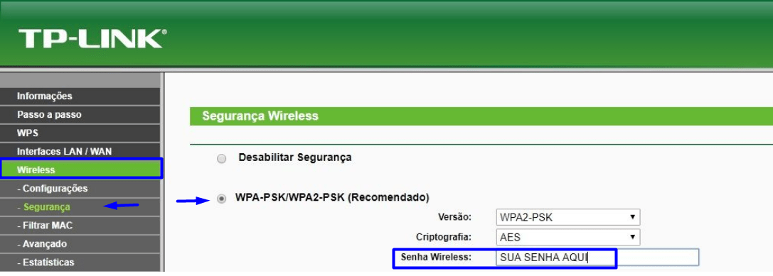 Imagem mostra e tela de configuração Wireless do roteador Tp-Link de acesso pelo IP 192.168.1.1 ou 192.168.0.1