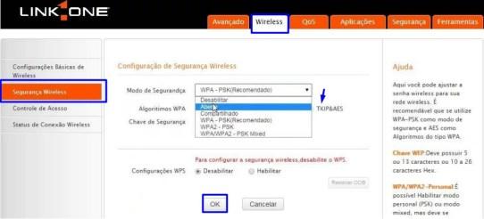 Imagem mostra tela de segurança wireless em roteador link1One