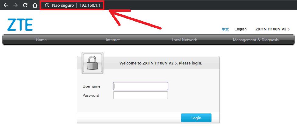 Imagem mostra tela de login do roteador da Oi ZTE, acessado pelo endereço http://192.168.1.1