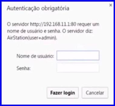 Imagem mostra a tela de login do roteador buffalo acessada pelo IP 192.168.11.1 - Endereço http://192.168.11.1