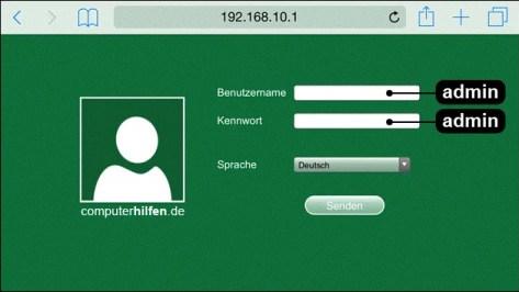 Auf dem Foto können sie sehen, dass der Zugriff nur durch dem IP-Nummer 192.168.10.1 ermöglicht wurde