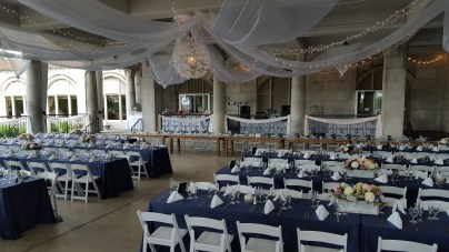 Large Floral Pendant Light, 8 Panels of White Organza, 16 Strands of Twinkle Lights, Railing Fabric/Lights
