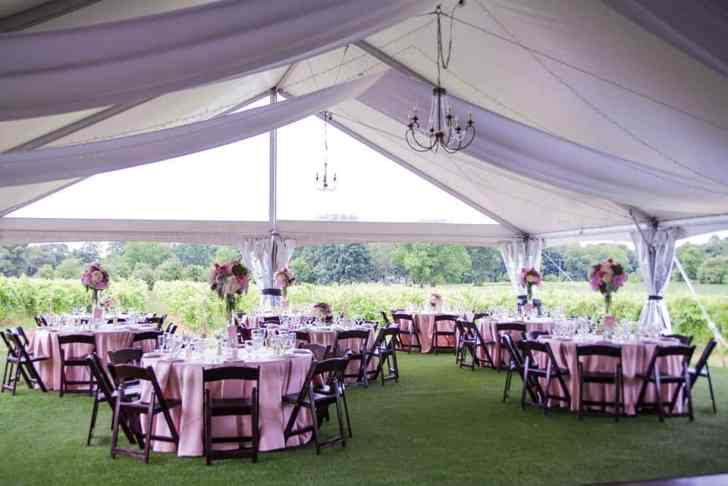 5 Panels White Satin Fabric, 3 Large Brushed Gold Chandeliers, 2 Small Brass Chandeliers, 12 Strands of Twinkle Lights