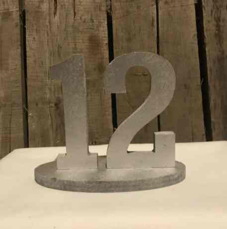 Silver Block Table Number