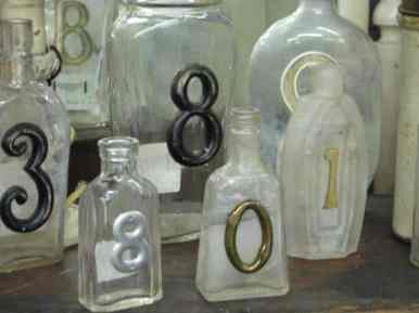 Vintage Medicine Bottle Table Numbers