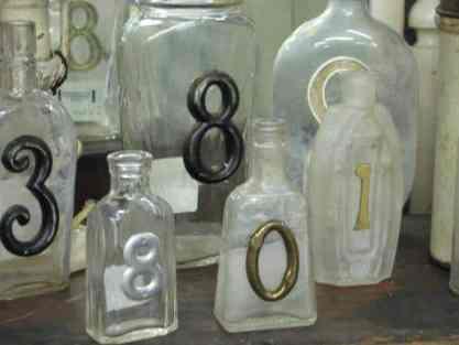 Vintage Medicine Bottle Table Numbers