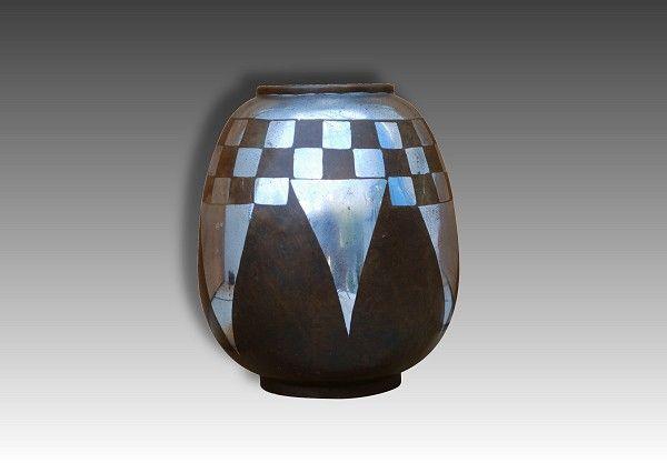 1930 art deco dinanderie vase