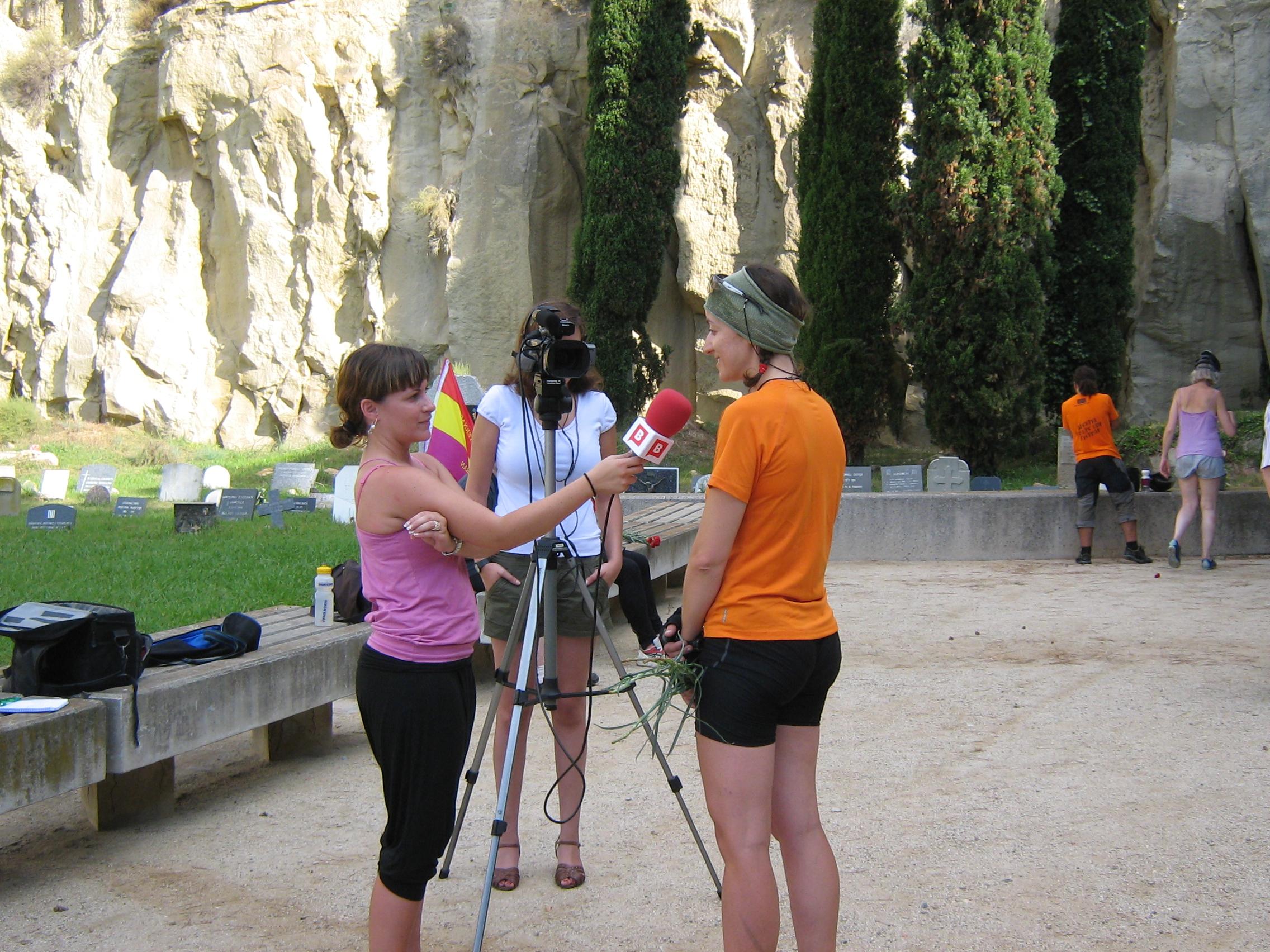 Anna being interviewed