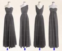 Gray Bridesmaid Dress, Long Bridesmaid Dress, Mismatched ...