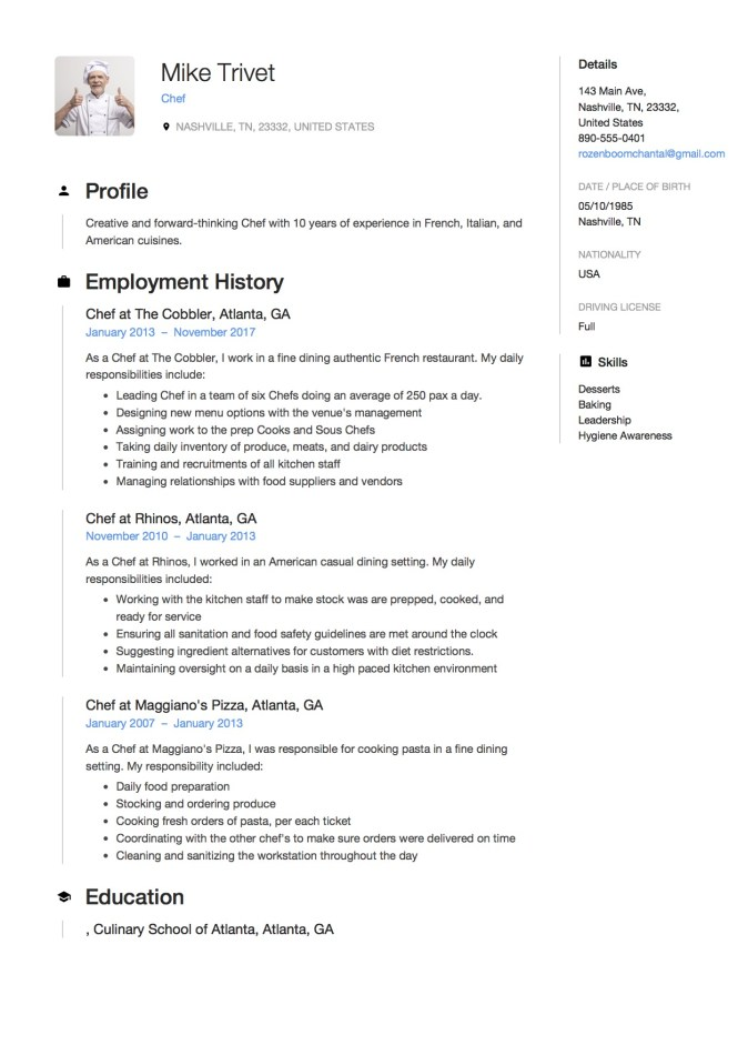 Chef Resume Writing Guide 12