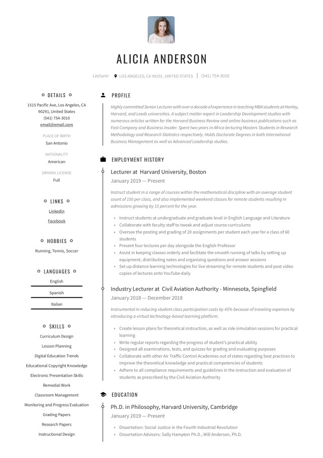Lecturer Resume & Writing Guide  +28 Free Examples  28