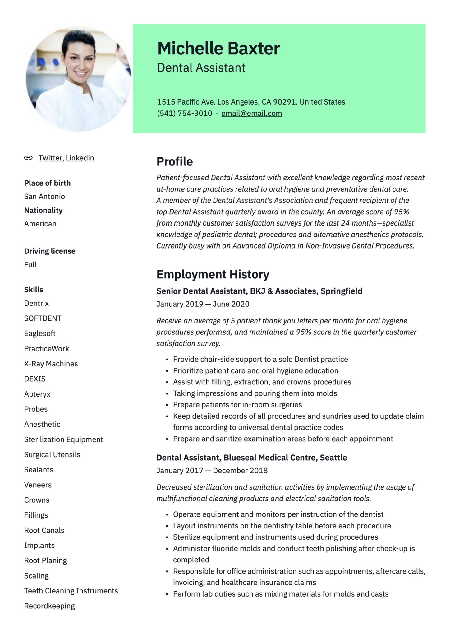 Take a look at the top 10 most popular example resumes to find which resume sample is best for your professional profile: 17 Dental Assistant Resumes Writing Guide 2020