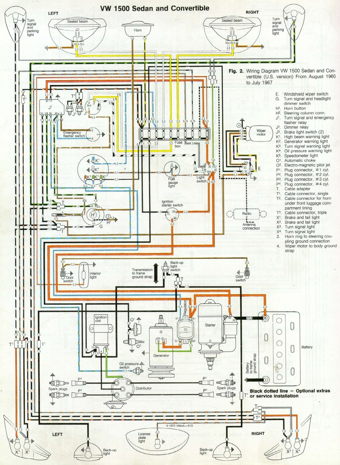 67 Beetle Wiring Diagram – U.S Version – 1967 VW Beetle1967 VW Beetle
