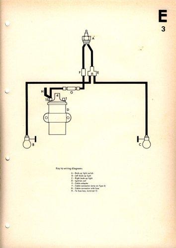 Reverse Light Wiring Diagram – 1967 VW Beetle