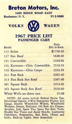 '67 Beetle — Price List
