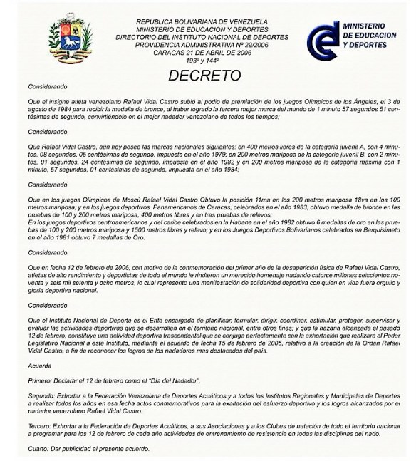 Decreto Dia del Nadador Venezuela