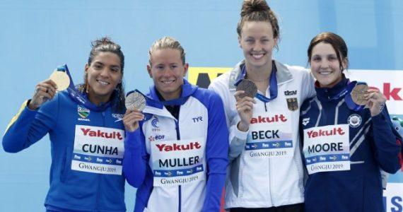 Mundial Aguas Abiertas FINA podio de 5 km femenino