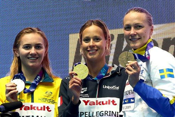 Podio 200m libre femenino Mundial FINA Gwangju 2019