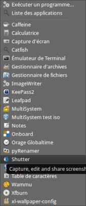 Menu Linux Accessoires Shutter