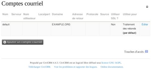 CiviCRM Comptes Courriel CiviMail