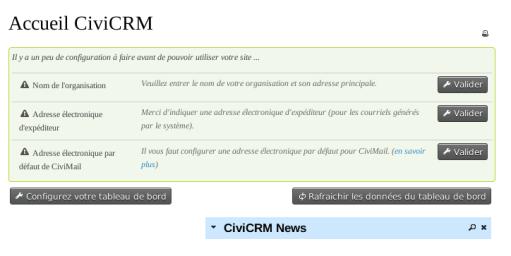 CiviCRM Page Accueil Français