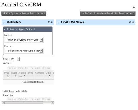 CiviCRM Param Accueil Activités News