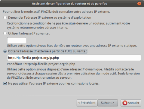 FileZilla Assistant Adresse IP