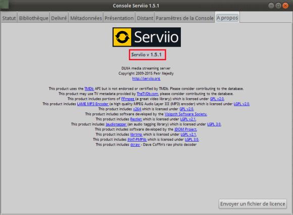 Console Serviio 1.5.1 verif version