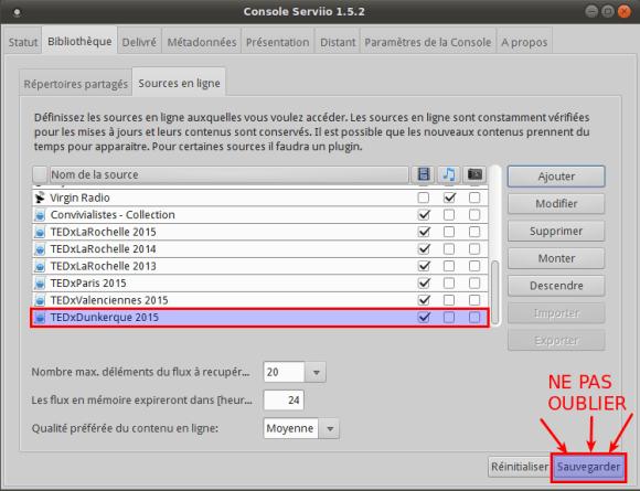 Console Serviio 1.5.2_Sauver votre source