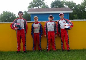 The Birel junior-class drivers had a great weekend winning three of the four junior classes. Pictured (from L to R) are Matt Solarczyk, Becker Readon, Grant Quinlan and Mike McAndrews