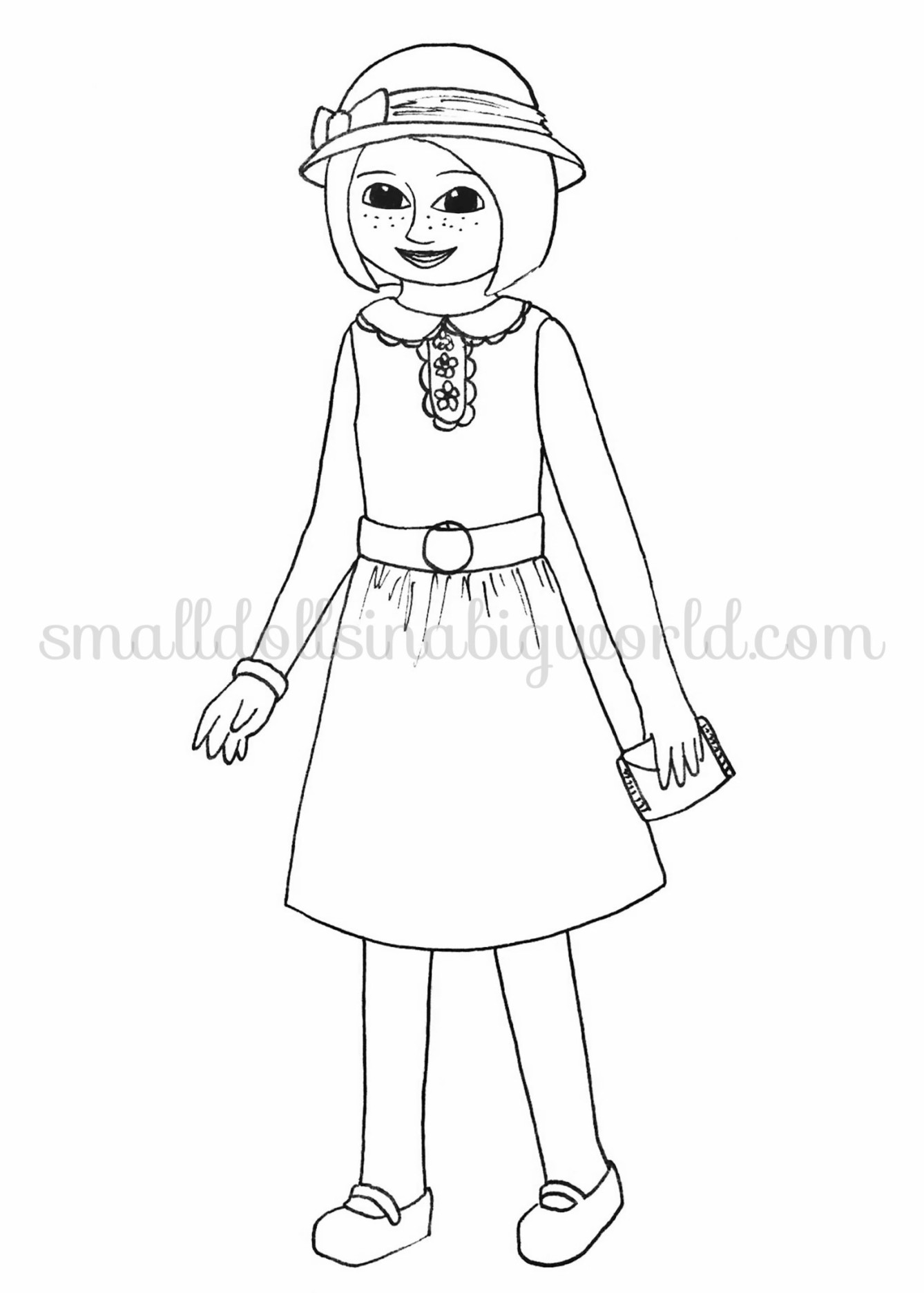Kit american girl free coloring pages for American girl doll coloring page