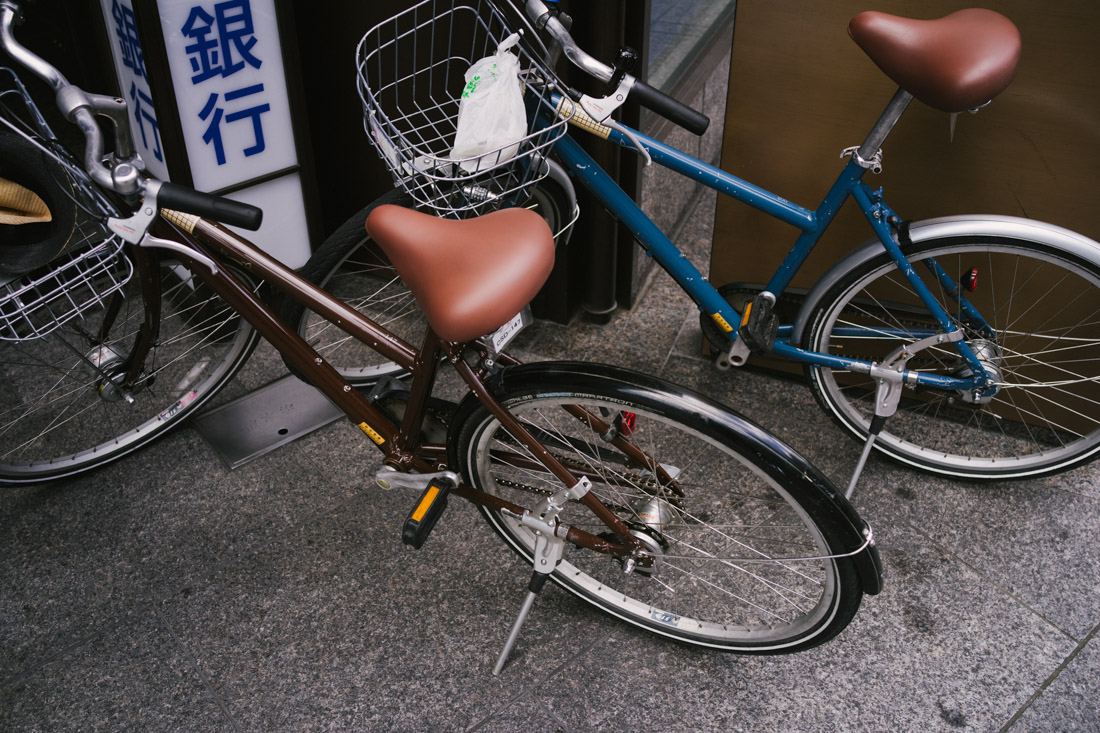 Our bikes — even the large one is on the small side.