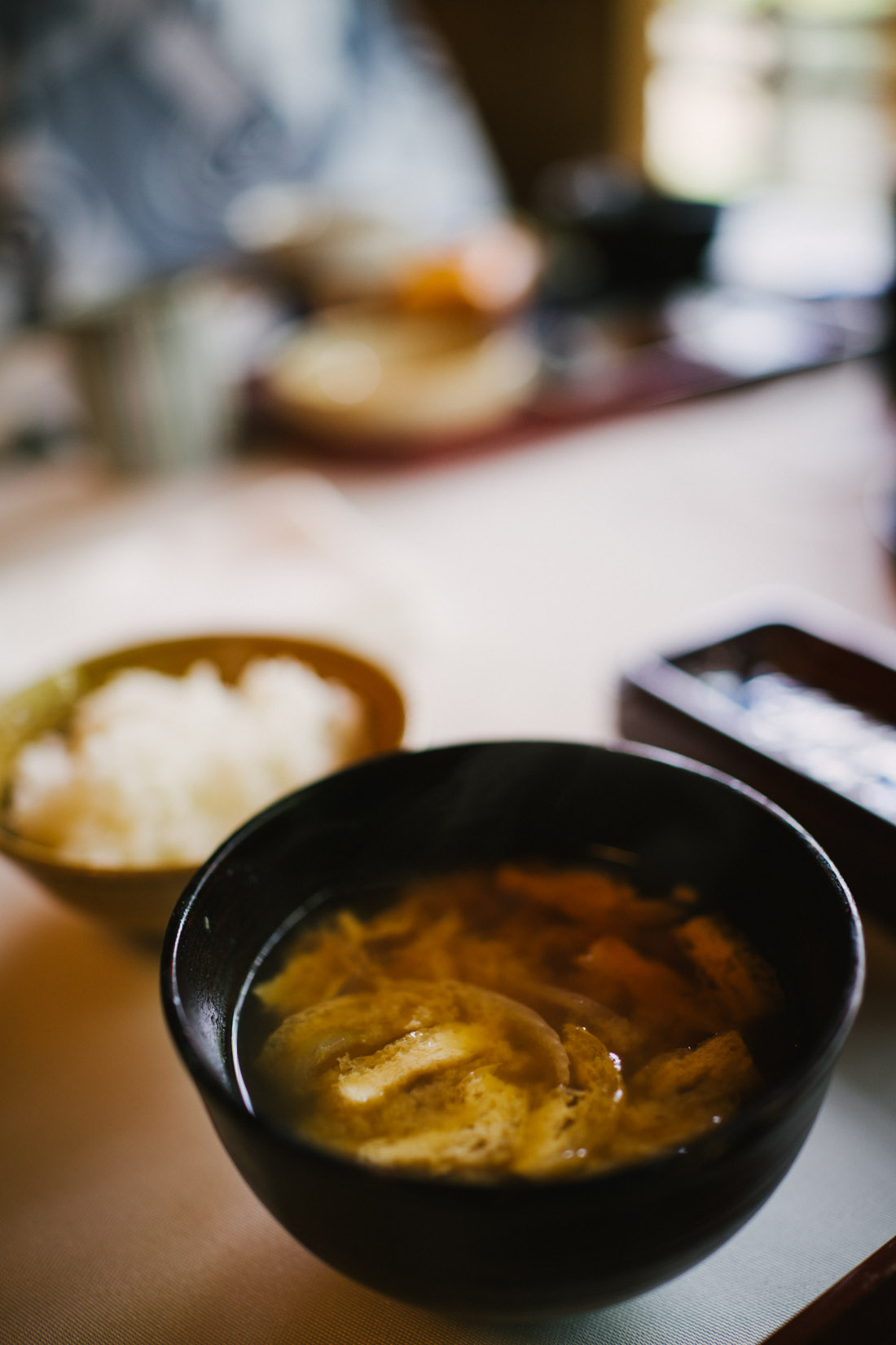 Miso soup with onions.