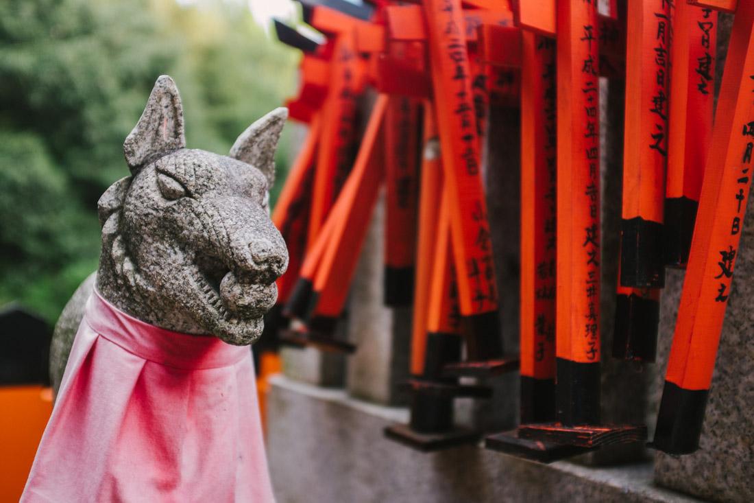 Kitsune (fox) are everywhere along the path.