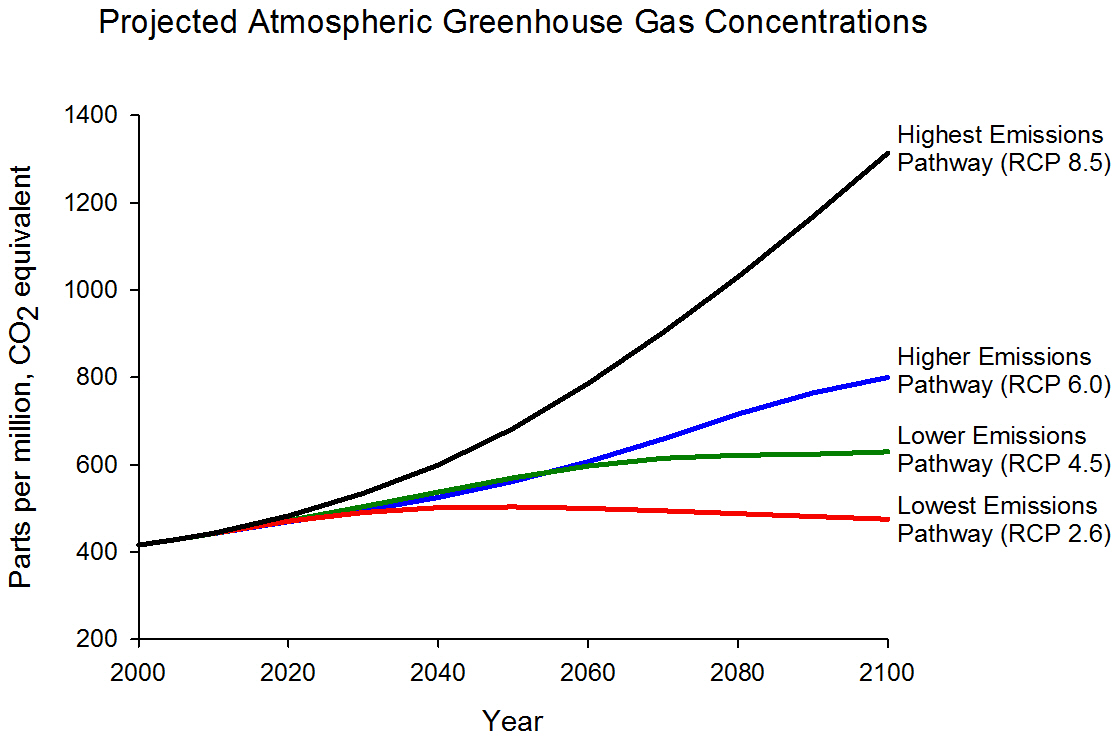hight resolution of graph displaying projected ghg concentrations for four different emissions scenarios highest rcp 8 5