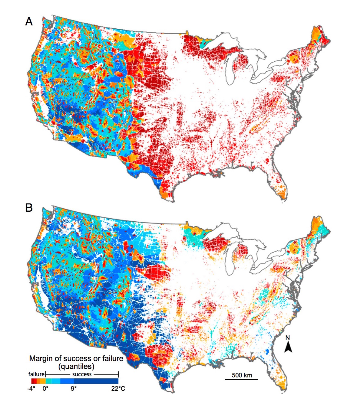 Margin of success or failure at achieving climate connectivity. Negative temperatures, in red to orange colors, indicate a failure to achieve climate connectivity; positive temperatures, in blue colors, indicate success. (A) Without corridors. (B) With corridors.