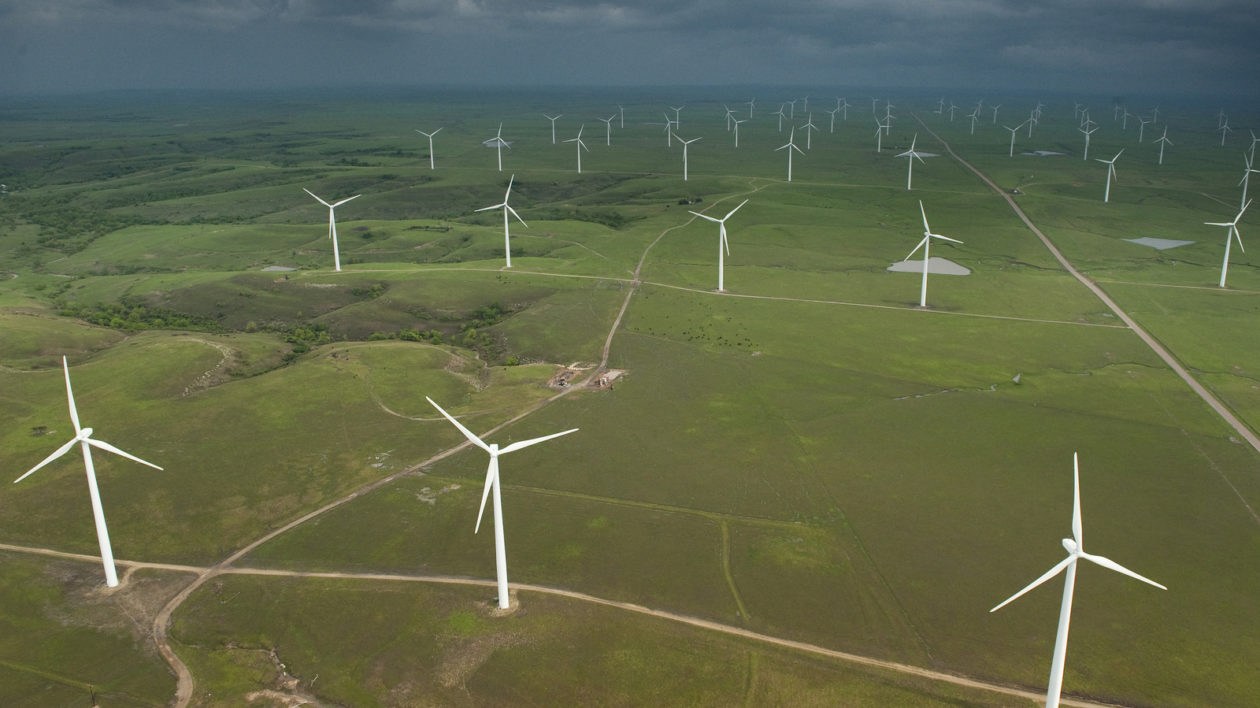 Aerial view of the Elk River Wind Project near the small town of Beaumont, in the southern Flint Hills region of Kansas. This 150 MW wind farm came on-line in December 2005. The one hundred 1.5 MW wind turbines are located several miles South of Beaumont. © Jim Richardson via Cool Green Science