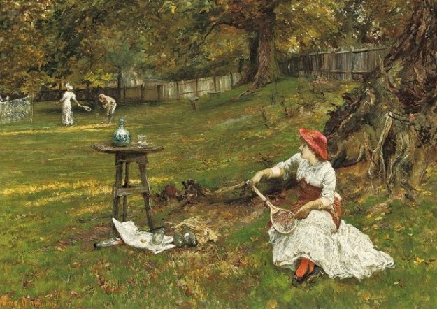 t Francis Sydney Muschamp (British artist, 1851-1929) A Game of Tennis