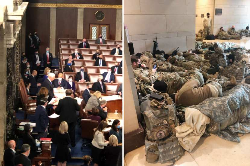 A composite photo of the members in the house and the national guard resting the Capitol halls).