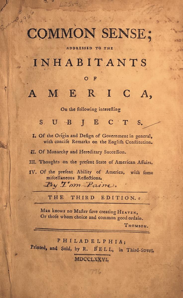 Common Sense; Addressed To The Inhabitants Of America