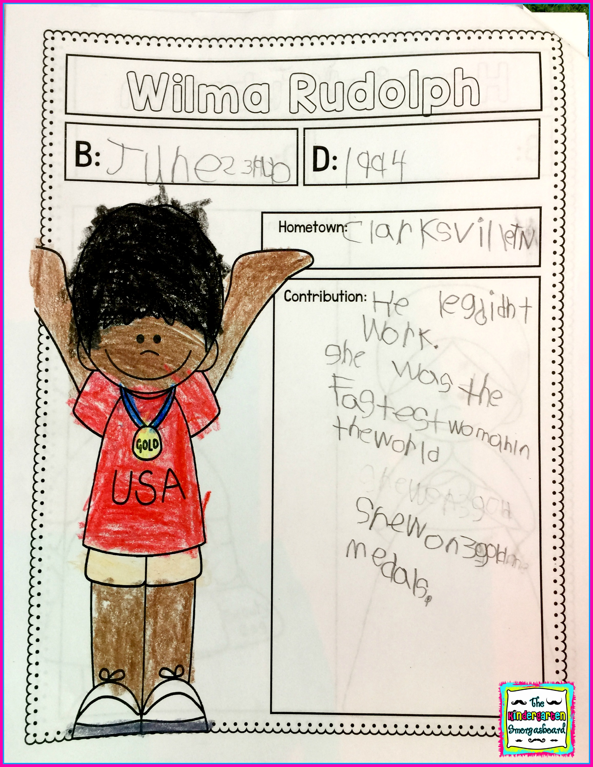 Wilma Rudolph Writing The Kindergarten Smorgasboard