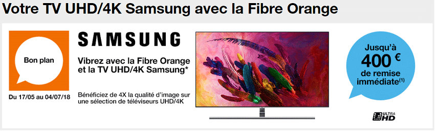 tv samsung offerte avec fibre orange
