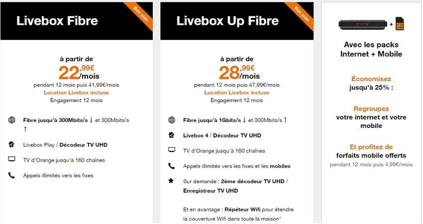 offre orange box : livebox up pas chère