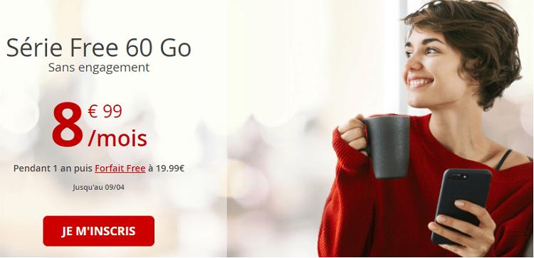Forfait sans engagement free 60 Go en promo à 8.99€ / mois