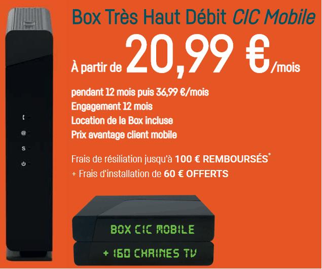 box cic mobile en promo à 20.99 euros par mois