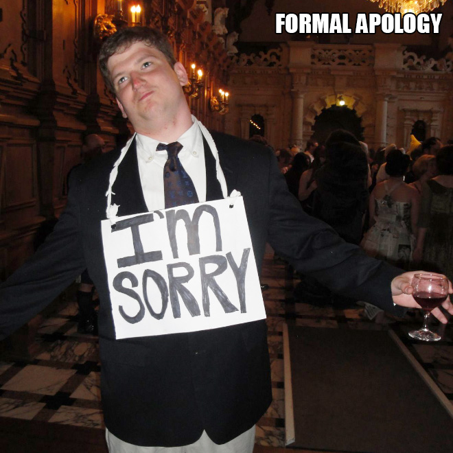 Formal apology costume.